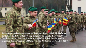 Romanian Soldiers deployed to eFP Battle Group Poland celebrate unity day