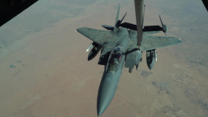 908th Expeditionary Air Refueling Squadron refuels F-15Es