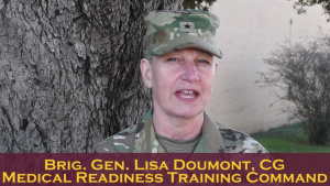 Brig. Gen. Lisa Doumont encourages all medical Soldiers to test for the Expert Field Medical Badge.