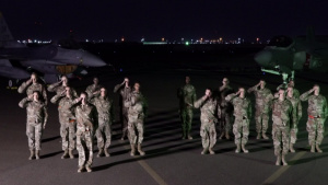 380th AEW presents formation for national anthem (Part II)