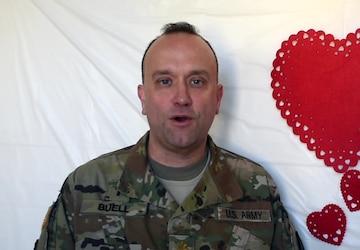 Chaplain (Maj.) William Buel sends Valentine's Day greetings from Powidz, Poland to San Antonio Texas.