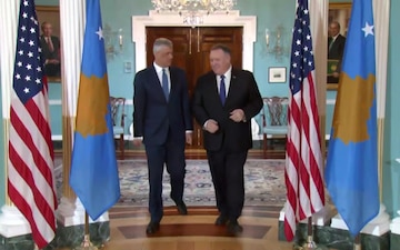 Secretary of State Pompeo Camera Spray with Kosovo President