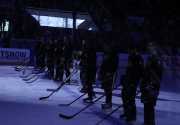 Soldiers from 17th FAB play in Army vs. Navy hockey game