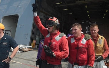 USS Green Bay flight deck firefighting drill, March 11, 2020
