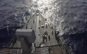 USS Germantown (LSD 42) launches a rolling airframe missile during training