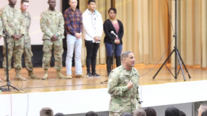 Col. Michael Trotter speaks on 'Second Chance' play