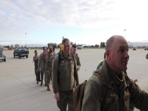 California Air National Guard 146th Airlift Wing mobilized to assist building of federal medical facilities at Riverside Fairgrounds in Indio California