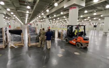 FEMA Field Hospital for setup at the Jacob Javits Convention   Center in New York City
