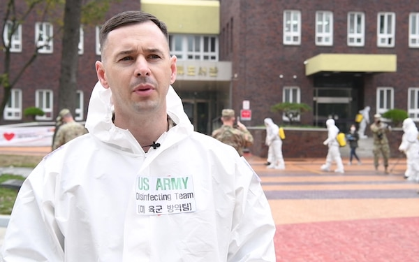 U.S. Army Material Support Command and ROK 2nd Operational Command Disinfect Public Area in Daegu