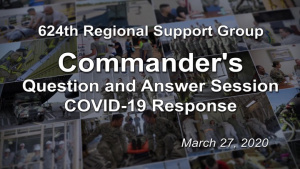 Commander's COVID-19 Question and Answer Session March 27, 2020