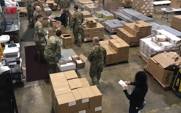 Time-lapse of Ohio National Guard helping a food bank (B-Roll)