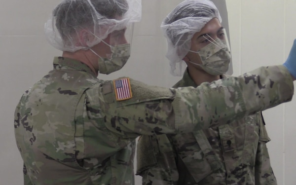 Texas National Guardsmen help produce health safety masks in response to COVID-19