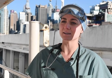 Interview with U.S. Navy Lt. Catharyn Nosek, a nurse working in the intensive care unit aboard the Military Sealift Command hospital ship USNS Comfort (T-AH 20)