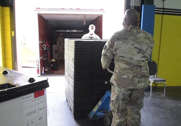 Pennsylvania guardsmen pack and ship medical supplies to East Stroudsburg, PA