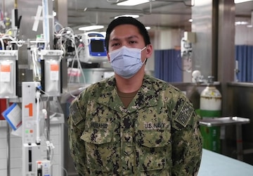 Interview with U.S. Navy Hospital Corpsman 3rd Class Marco Hubahib, from Elmhurst, Queens in New York City, aboard the Military Sealift Command hospital ship USNS Comfort (T-AH 20).