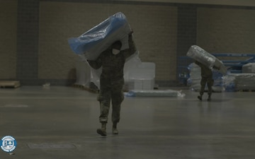 Connecticut National Guard Builds Beds at Connecticut Convention Center
