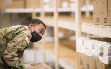 National Guard Covid-19 response: Warehouse Operations at alternate care facility in Novi, Mich.