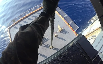 USS America (LHA 6) Marines from 31st Marine Expeditionary Unit Conduct Fast Rope to Marksman Exercise