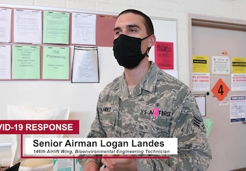 Bioenvironmental Airman demonstrates fit testing procedures for N95 masks (Social Media Edit)