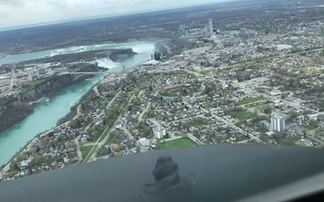 KC-135 forward view flying over Niagara Falls