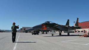 F-15s Prepare for Flyover