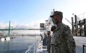 Hospital Ship USNS Mercy Departs Los Angeles