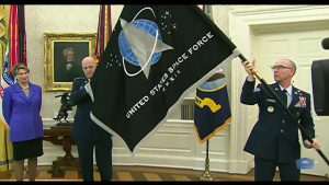 Trump Presents Space Force With Service Flag