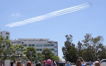 Thunderbirds honor first responders at Mission Hospital in Mission Viejo, California, with a flyover
