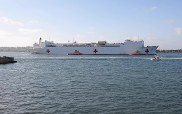 USNS Mercy Departing Los Angeles and Arriving in San Diego B-Roll