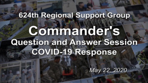 Commander's COVID-19 Question and Answer Session May 22, 2020