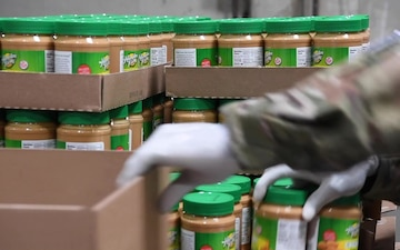 B-Roll: Soldiers build emergency kits at Los Angeles area food bank