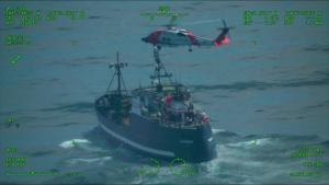 Kodiak Coast Guard aircrews coordinate medevac 300 miles northwest of St. Paul Island