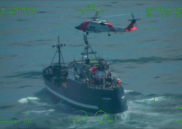 Kodiak Coast Guard aircrews coordinate medevac 300 miles northwest of St. Paul Island