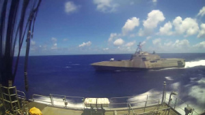 USNS Richard E. Byrd (T-AKE 4) Conducts a Replenishment-at-Sea with USS Montgomery (LCS 8)