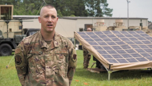 U.S. Airmen with the 53rd Air Traffic Control Squadron utilize innovative solar technology.