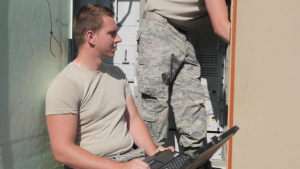 U.S. Airmen with the 53rd Air Traffic Control Squadron conduct upgrade training.