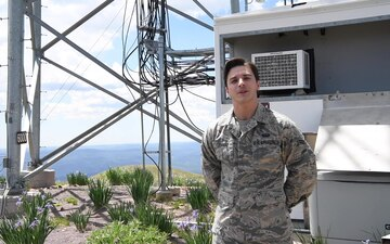 49th Communications Squadron climbs radio tower at Buck Mountain