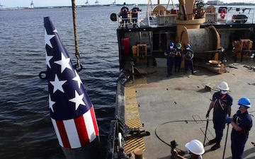 Coast Guard sets historic Francis Scott Key buoy on Patapsco river in Baltimore for 40th year