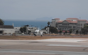 The first CMV-22B Osprey land at Naval Air Station North Island. Fleet Logistics Multi-Mission