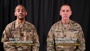 Commanding General and Command Sergeant Major of AR-MEDCOM discuss suicide awareness
