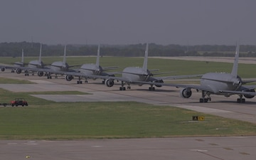 KC-46 Elephant Walk lineup and take offs