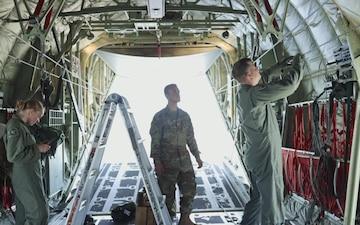 Loadmasters Prepare a C130-J for Static Line Jumps