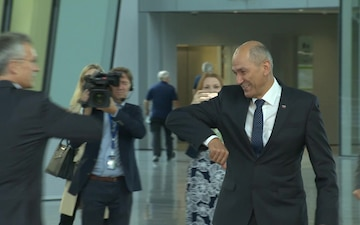Visit to NATO by the Prime Minister of Slovenia (broll)