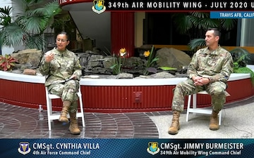 4AF Command Chief Cynthia Villa visits 349 AMW