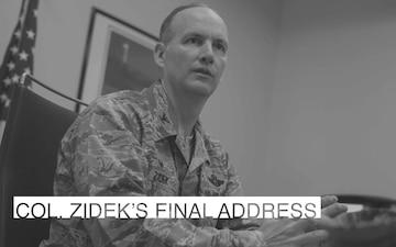 Col. Zidek's final address