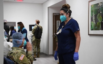 Soldiers assigned to an Urban Augmentation Medical Task Force conduct orientation training at hospital in Corpus Christi