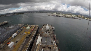 USS Hopper (DDG-70) undocking time-lapse from Pearl Harbor Naval Shipyard & IMF