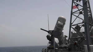 Close-in weapon system pre-aimed calibration fire aboard USS Princeton