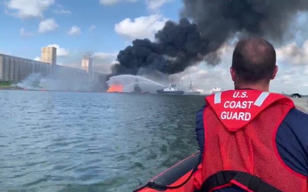 Coast Guard crews respond to dredge fire in the Port of Corpus Christi Ship Channel