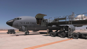 Red Tail Airmen Load Incoming KC-135